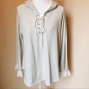 Mystree Hoodie Lace~up Sweatshirt Size:Medium